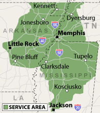 Our Tennessee, Mississippi and Arkansas Service Area